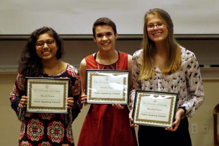 From left to right: Third place winner Tulsi Patel, First place winner Cassidy Fuller, and Second place winner Daniela Conroy